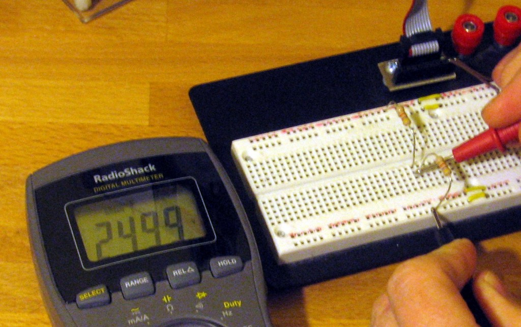 Two 1k resistors and a 5V source create a 2.5V output on this voltage divider