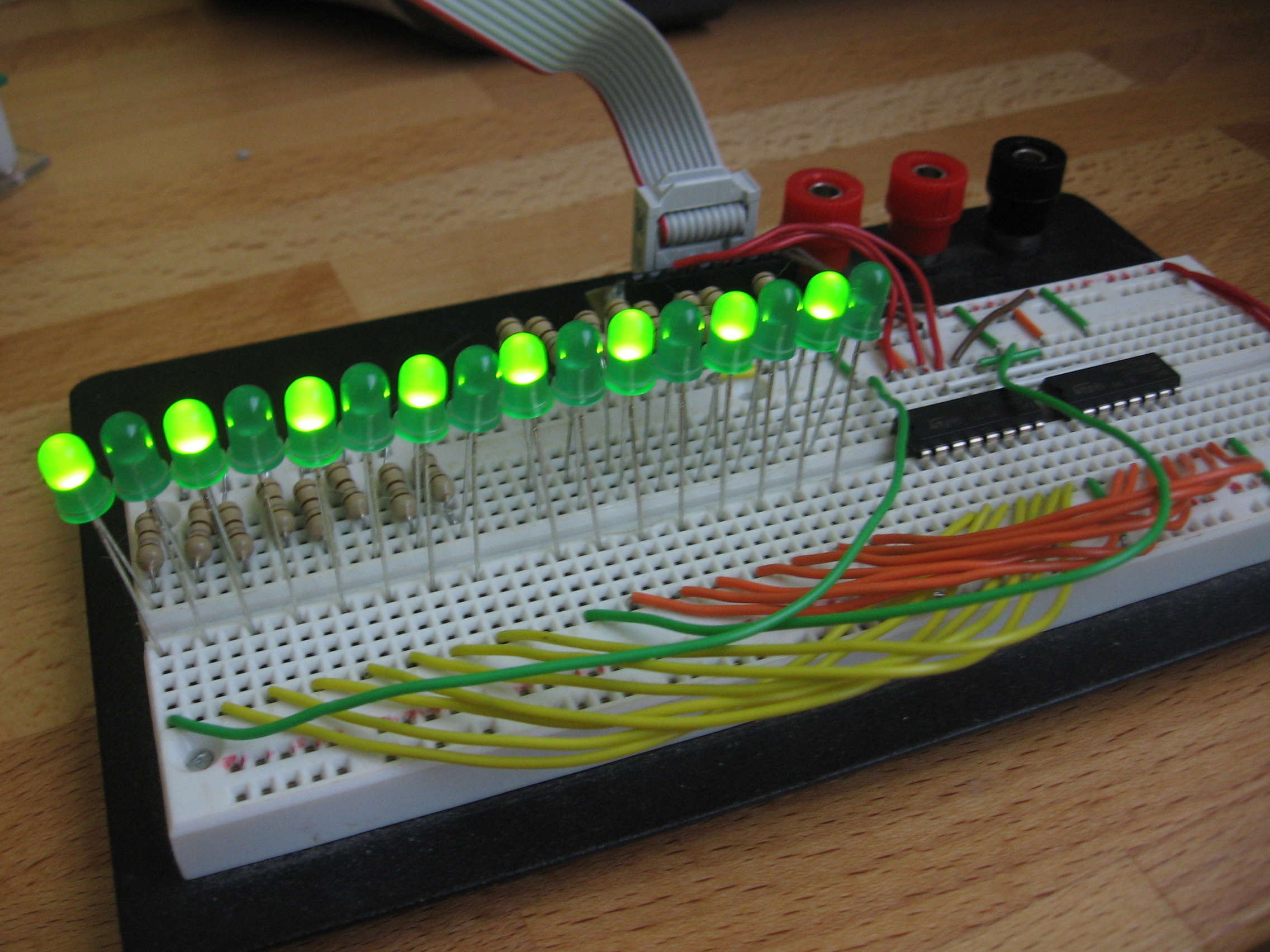 How To Drive 595 Shift Registers With Avr Hardware Spi Jumptuck The Is Implemented By Using A Atmega88 Microcontroller Illuminated Leds